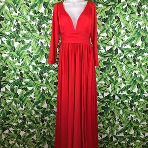 Sheergirl Red Pearl Fit & Flare Maxi Dress